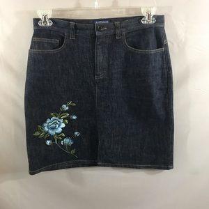 Ann Taylor Jeans Embroidered denim skirt